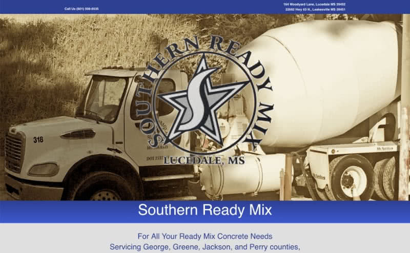 Screenshot Southern Ready Mix Concrete for Lucedale Leakesville MS